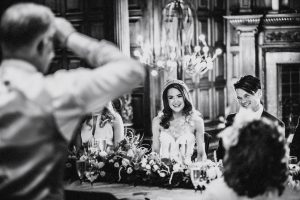 Our gorgeous real bride Sarah, wears Petunia wedding dress by Suzanne Neville, at her Jesmond Dene House wedding in Newcastle England